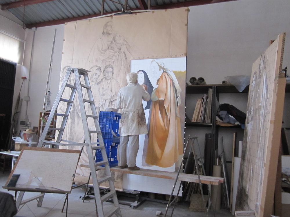 El boceto se corta a fragmentos para poder pintar sobre el lienzo manteniendo siempre la referencia del conjunto general