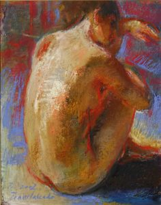 backwards-naked-woman-mixed-tecnique-painting-traver-calzada