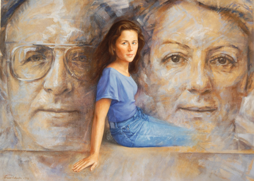 Portrait of a girl with her parents as background
