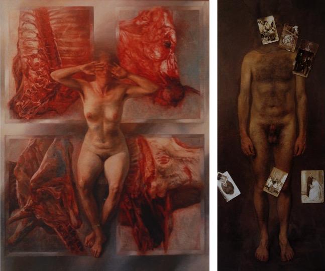 Tauromaquia, desnudo y toro descuartizado  (150cm x 145cm) 12.000 € Desnudo anónimo y fotografías (60cm x 145cm) 12.000 €