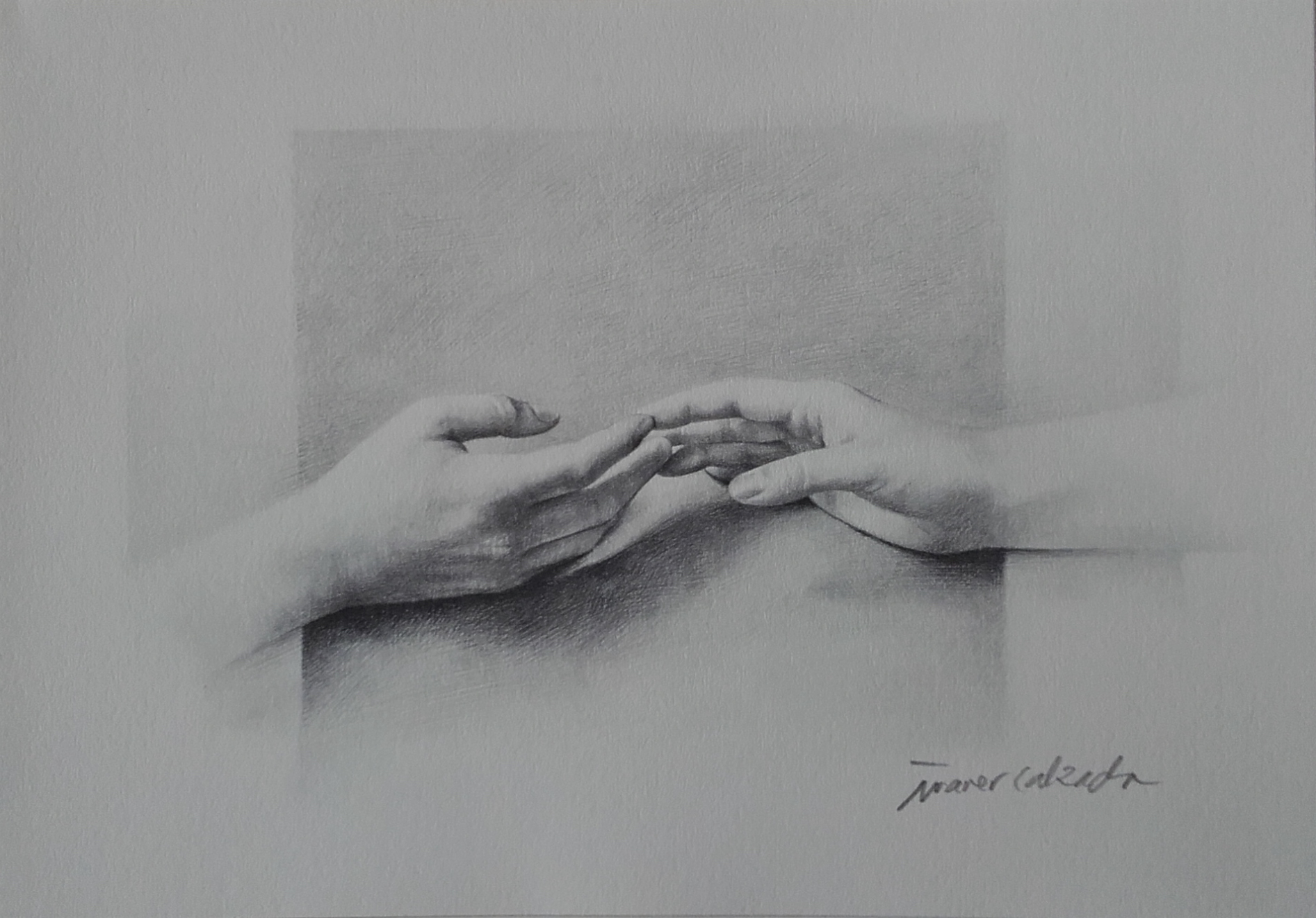 Original drawing of the hands of the fiancés, and then litographic series signed by the artist to offer to the guests of the wedding. This one is not on sale.
