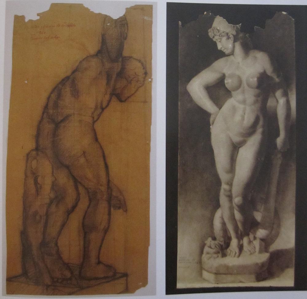 Se venden por separado. Discóbolo: carboncillo sobre papel ocre (43 cm x 90 cm) 1.800 - € Venus: barra compuesta y difuminos (40 cm x 100 cm) 1.800 - €