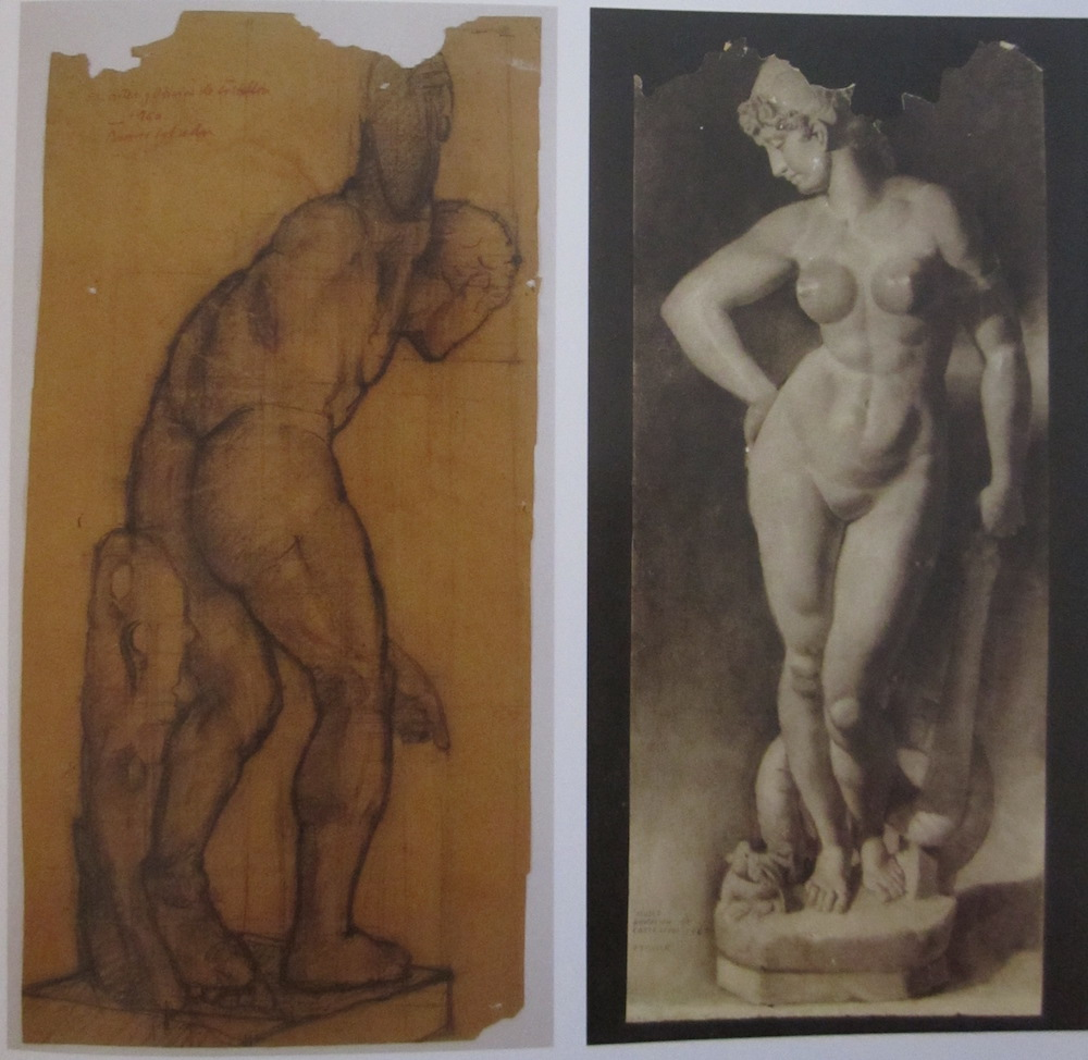 Sold separately Discobolus: charcoal in ochre paper (43 cm x 90 cm) Venus: composed bar and smudgers (40 cm x 100 cm)