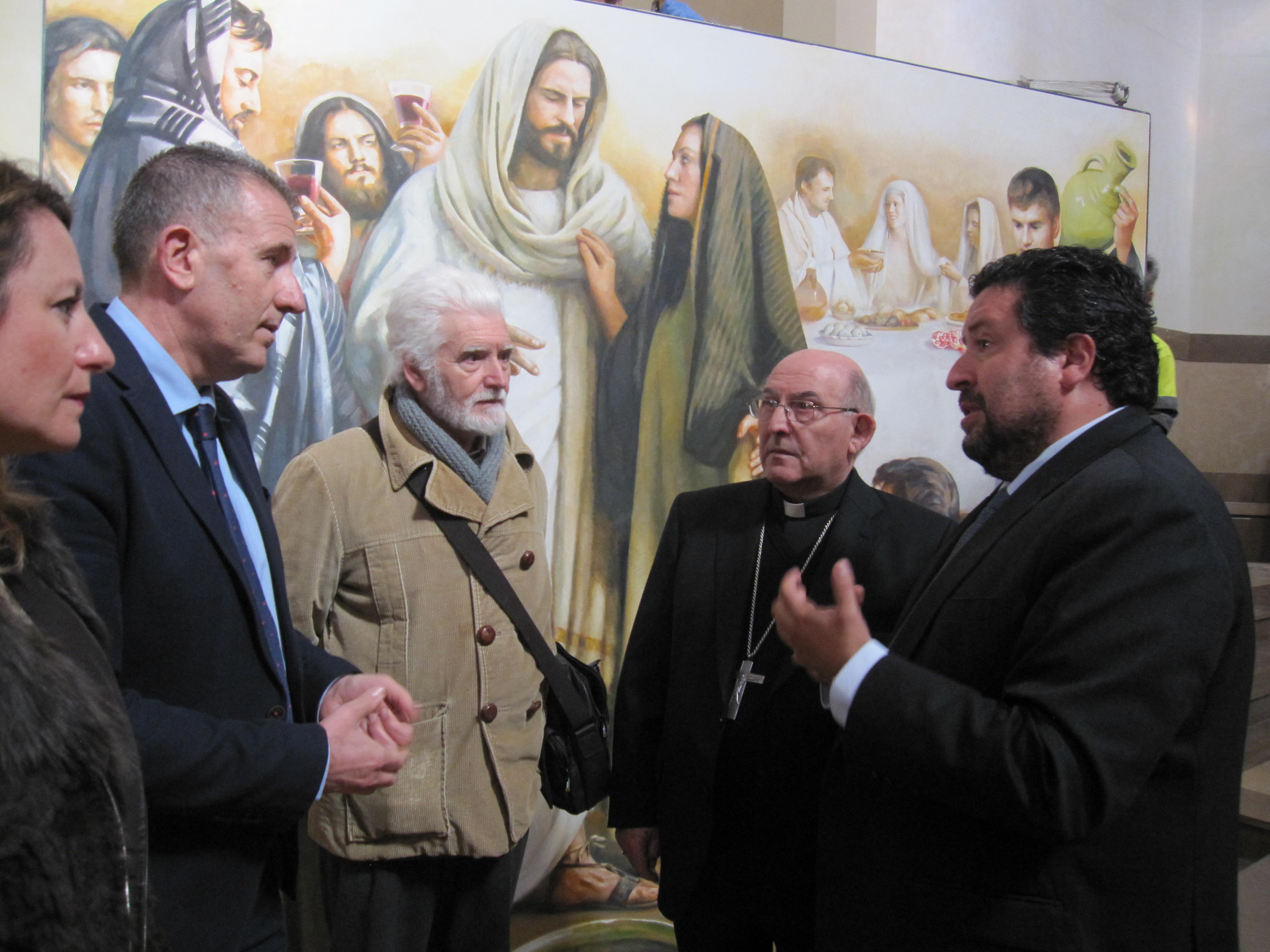 El cuadro Bodas de Caná, junto con el pintor Traver Calzada, el presidente de la Diputación Sr. Moliner, el  vicepresidente Sr. Sales y el obispo Don Casimiro.