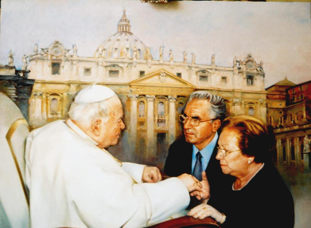 Retrato del Papa Juan Pablo II con un matrimonio