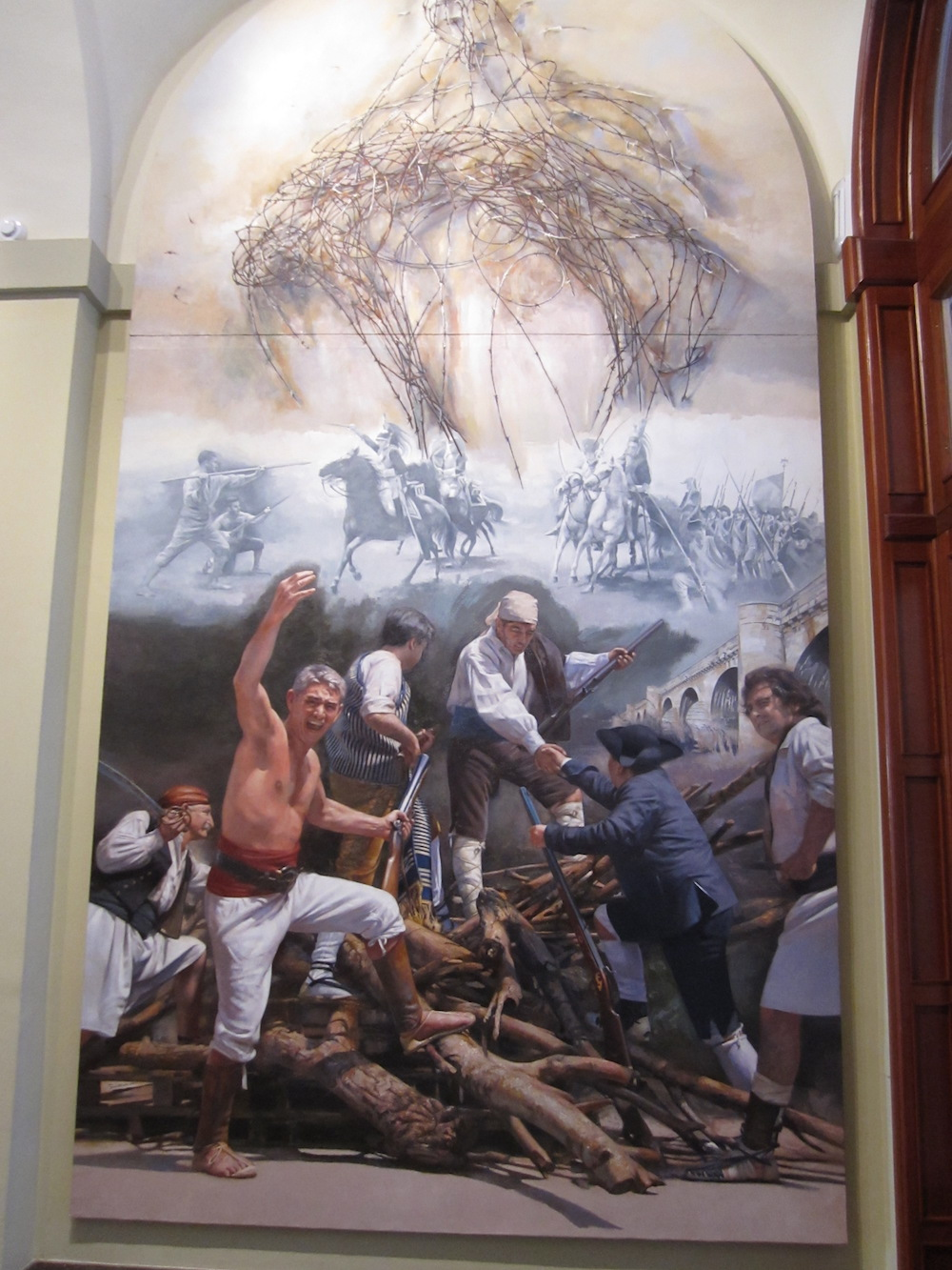 It presentes an allegory of the War of Independence and, at the same time, the herosim outburst.