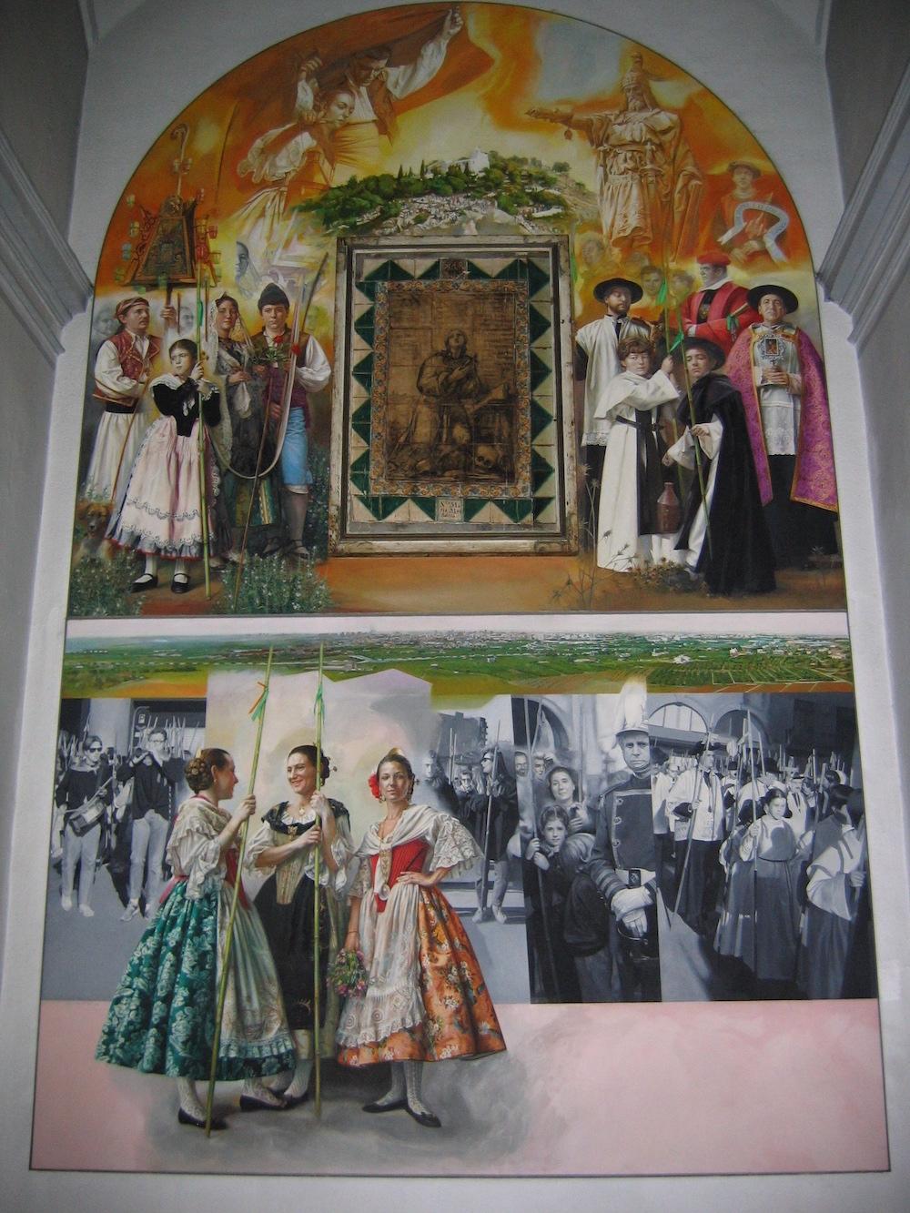 Retablo al temple sobre la Romería de Castellón, para la Basílica del Lledó de Castellón, enmarcando el cuadro Santa María Magdalena de Porcar.