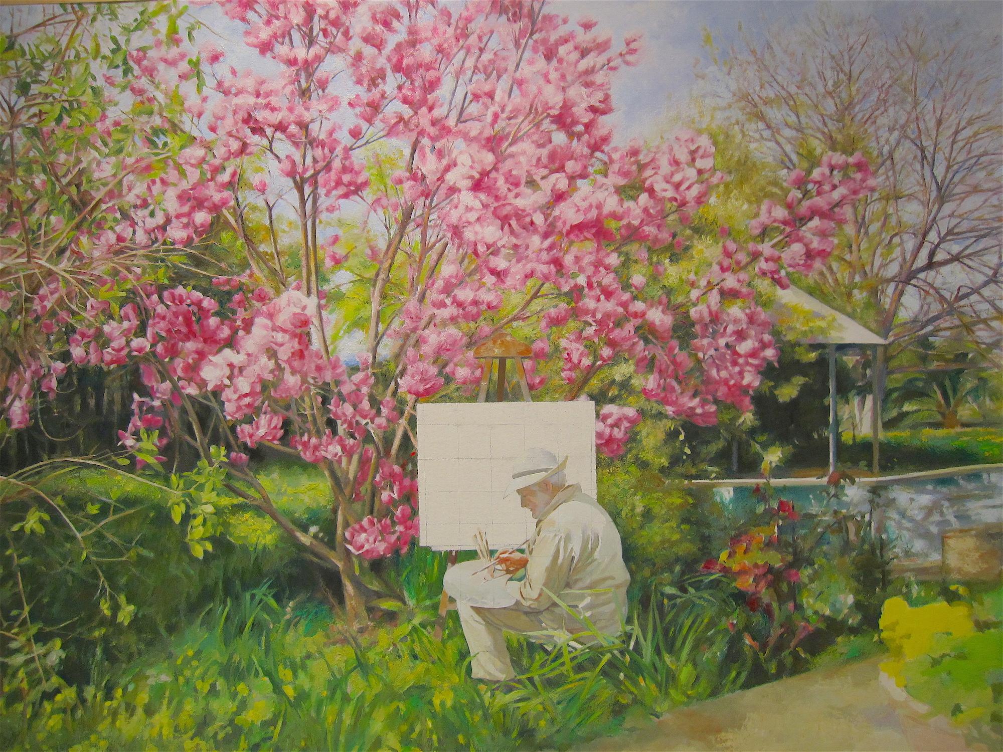 Magnolio-y-pintor-oleo-Traver-Calzada
