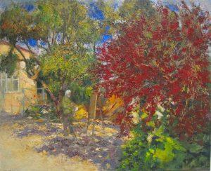 Pintando-en-el-jardin-oleo-Traver-Calzada