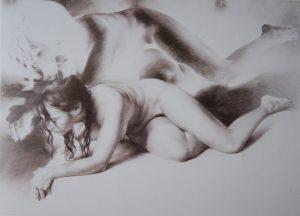Desnudo-en-negativo-dibujo-grafito-Traver-Calzada