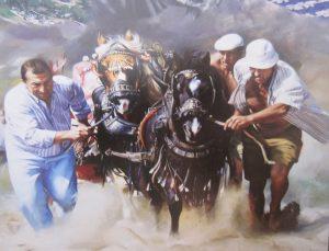 Tiro y arrastre. Detalle Murales Diputación Traver Calzada