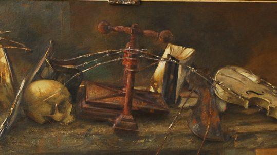 Calavera con instrumentos 3 TRAVER CALZADA