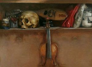 calavera con mandolina y violín